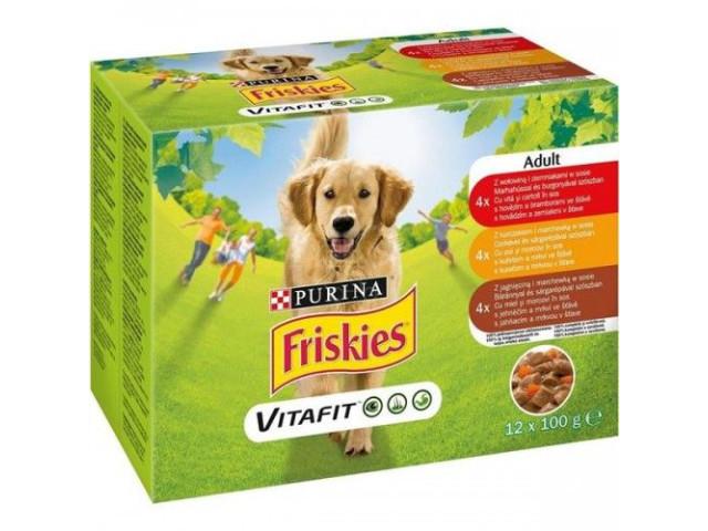 Friskies Dog Plic Pui Rata Curcan 12x100 g (R)