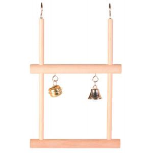 Trapez dublu din lemn cu 2 clopotei 12 x 20cm 5822