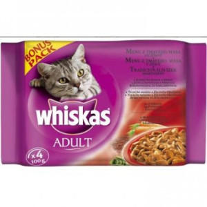 Whiskas Plic 100 g 4/P Sos de Carne Adult (R)