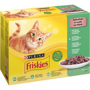 Friskies Cat 12 x 85 g vita pui peste