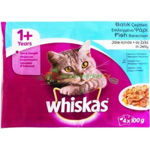 Whiskas Plic 100gx 4/p, somon-ton,aspic